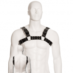 Body Leather Black Bull Dog Harness